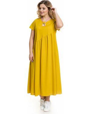 Свободное плиссированное летнее платье с карманами с вырезом Novita