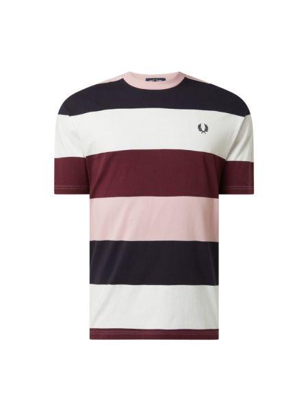 Biały t-shirt w paski bawełniany Fred Perry
