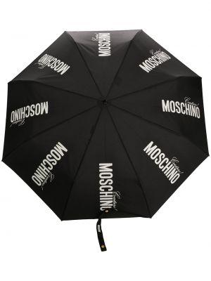 Złoty czarny parasol z printem Moschino