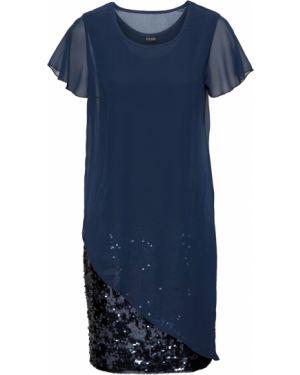 Коктейльное платье с пайетками синее Bonprix