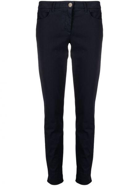 Хлопковые синие прямые укороченные брюки Luisa Cerano