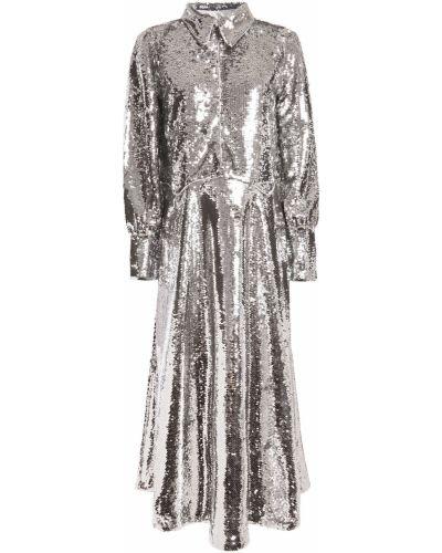 Серебряное платье миди с пайетками из фатина Ganni