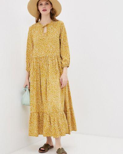 Прямое желтое платье А-силуэта Be Main