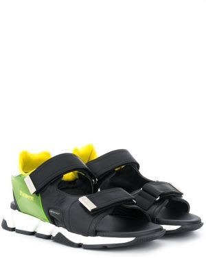 Открытые кожаные черные сандалии на липучках Cesare Paciotti Kids