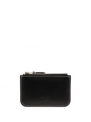 Черный кожаный кошелек на молнии Ami Paris