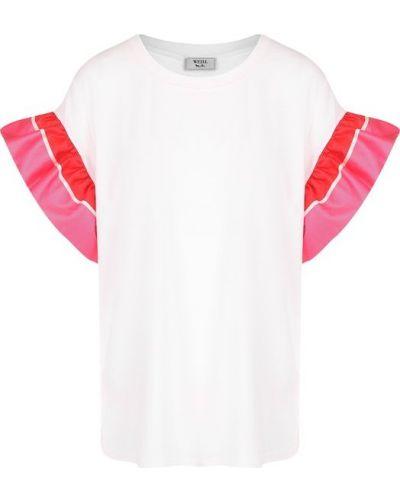 Белая футболка с оборками Weill