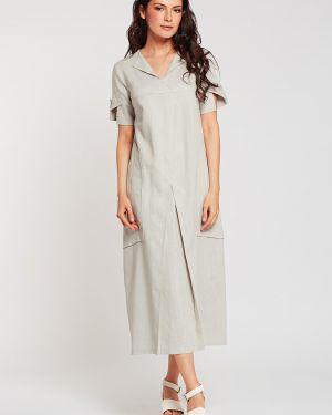 Льняное летнее платье в стиле бохо с карманами свободного кроя D`imma Fashion Studio