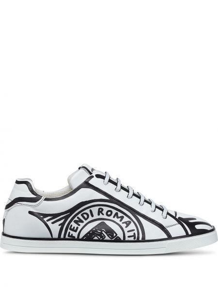 Czarny sneakersy z logo na sznurowadłach okrągły Fendi