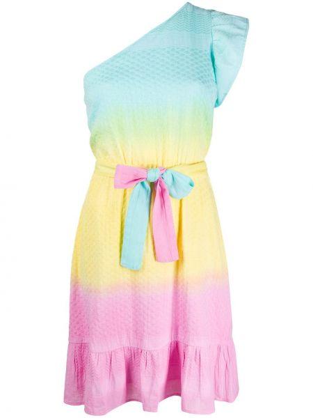 Хлопковое розовое платье миди с оборками Cecilie Copenhagen
