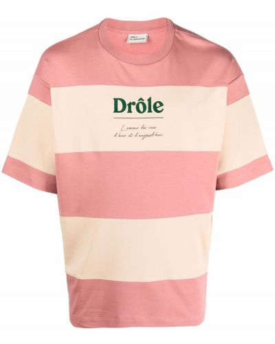 Biała T-shirt z nadrukiem z printem Drole De Monsieur
