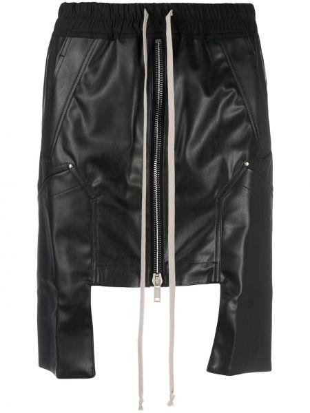 Ватная хлопковая черная асимметричная юбка мини Rick Owens Drkshdw
