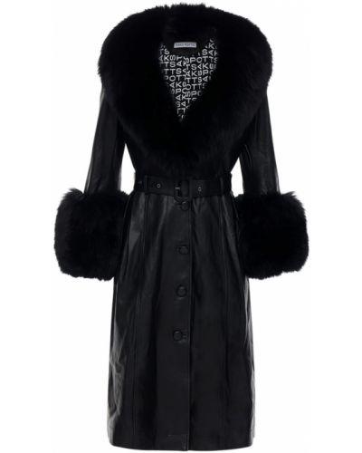 Czarny płaszcz z paskiem z klamrą Saks Potts