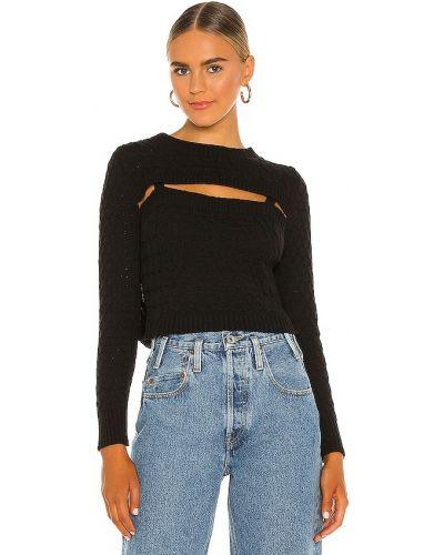 Кашемировый черный длинный свитер с кокеткой Central Park West