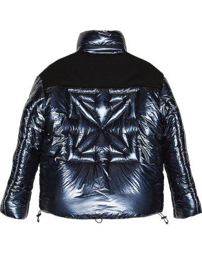 Puchaty ciemnoniebieski kurtka puchowa z kieszeniami Off-white