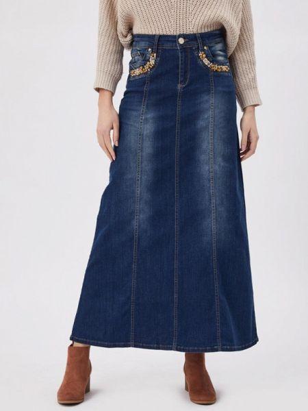 Джинсовая юбка синяя весенняя D'she
