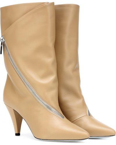 Otwarty skórzany beżowy buty z ozdobnym wykończeniem Givenchy