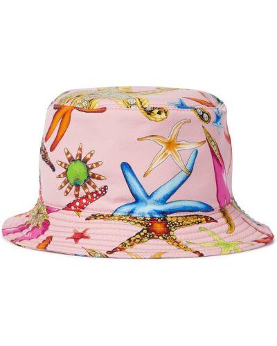 Różowy kapelusz bawełniany Versace
