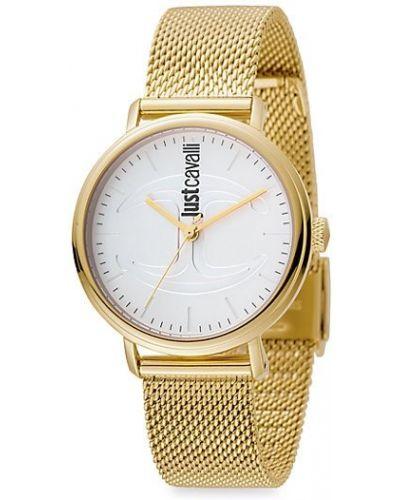 С ремешком серебряные кварцевые часы круглые Just Cavalli