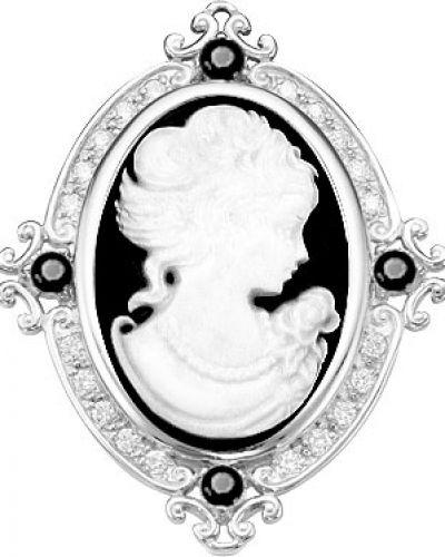 Серебряная брошь с камнями черная серебро россии