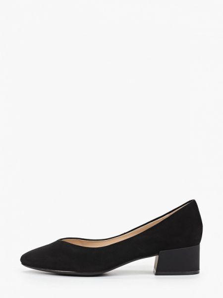 Велюровые черные туфли закрытые Ekonika