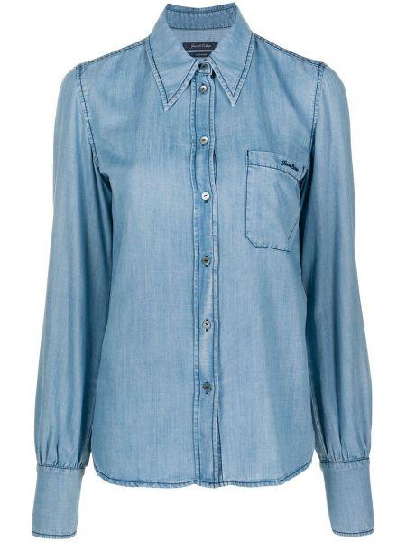 Синяя с рукавами джинсовая рубашка с воротником Jacob Cohen