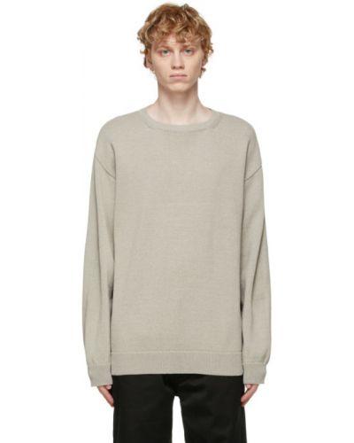 Beżowa bluza z długimi rękawami bawełniana Nanamica