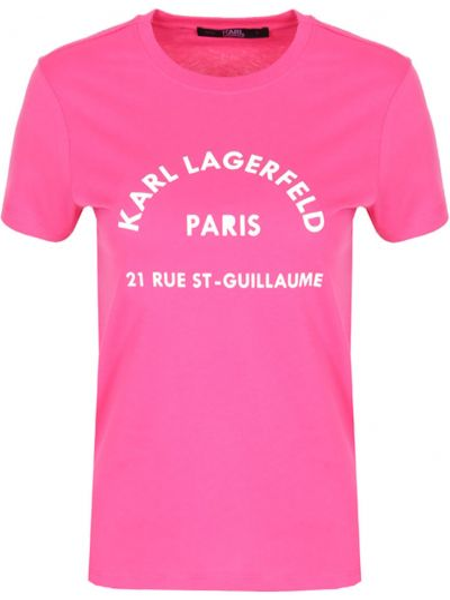 Короткая розовая футболка с логотипом с круглым вырезом Karl Lagerfeld