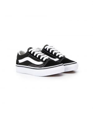 Хлопковые черные кроссовки на шнуровке Vans Kids
