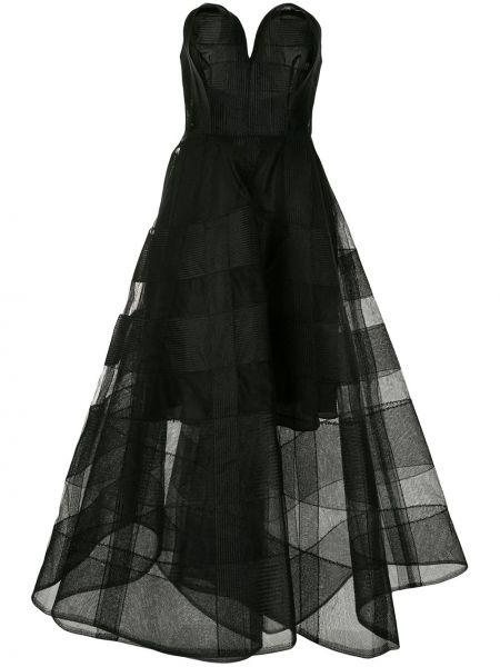 Расклешенное приталенное платье сетчатое с воротником Christian Siriano