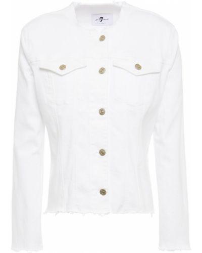 Белая хлопковая джинсовая куртка 7 For All Mankind