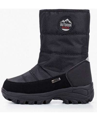 Черные кожаные дутики Kenkä