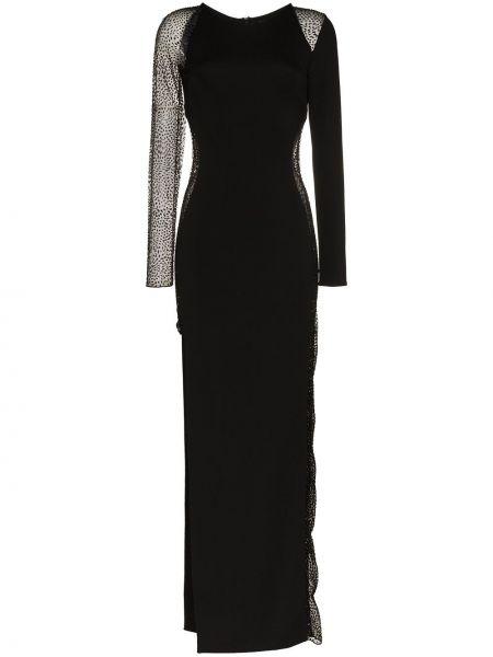 Czarna sukienka długa z długimi rękawami na co dzień Haney