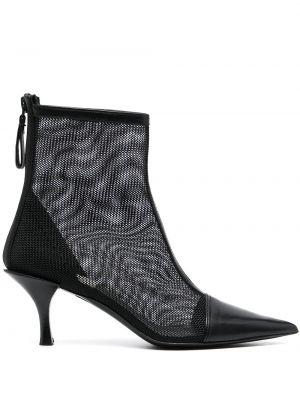 Czarne ankle boots skorzane z siateczką Premiata
