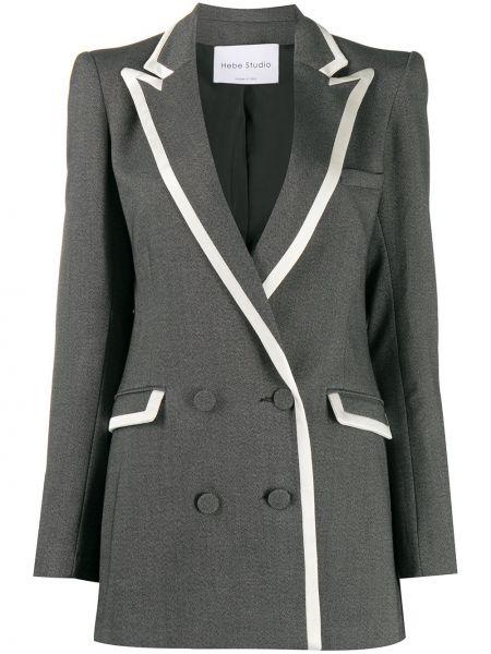 Серый пиджак двубортный на пуговицах Hebe Studio
