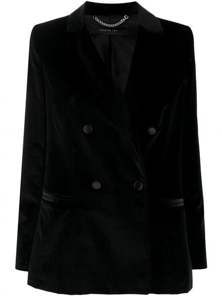 Черный удлиненный пиджак двубортный с карманами Federica Tosi
