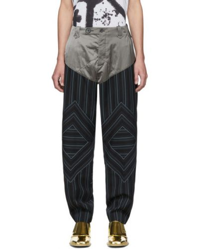 Czarne spodnie w paski wełniane Kiko Kostadinov