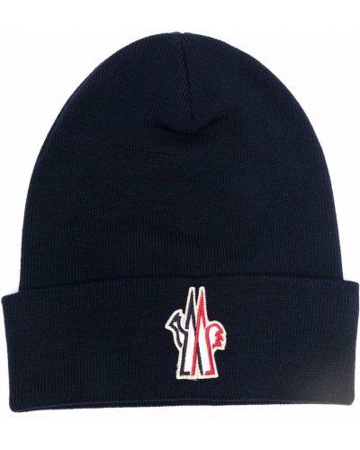 Niebieska czapka z haftem Moncler Grenoble