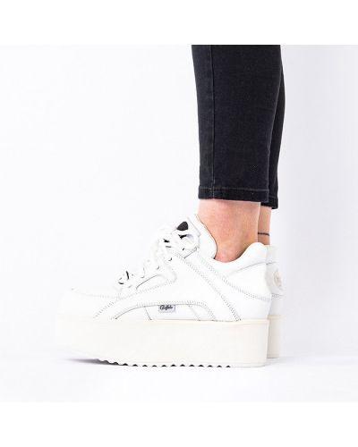 Белые текстильные высокие кроссовки Buffalo