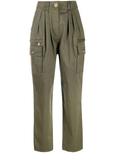 Зеленые прямые брюки карго с карманами Balmain