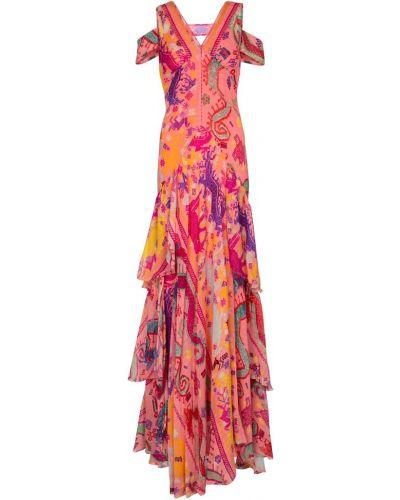 Шелковое розовое платье макси Etro