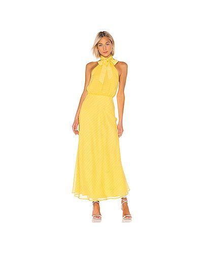 Платье с поясом на резинке желтый House Of Harlow 1960