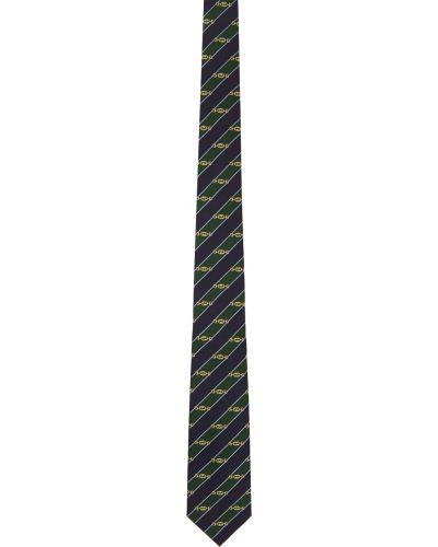 Złoty krawat - niebieski Gucci