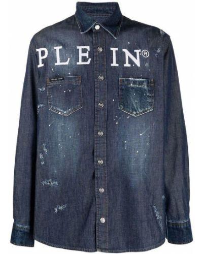 Niebieska koszula z długimi rękawami Philipp Plein