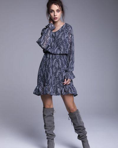 Платье мини с вырезом - черное Naoko