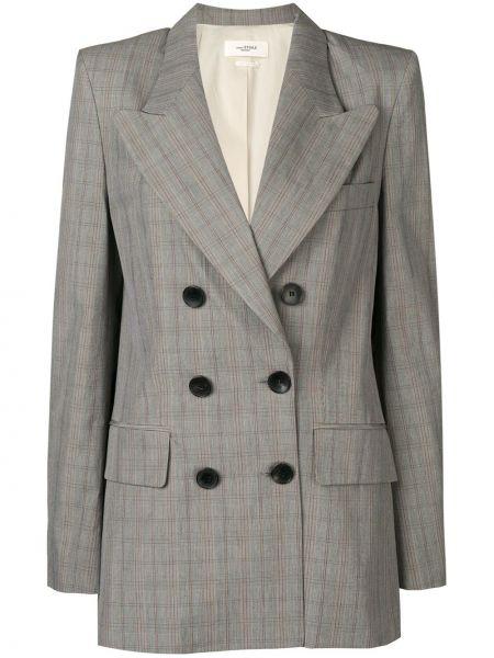 Серый классический пиджак в клетку двубортный Isabel Marant étoile