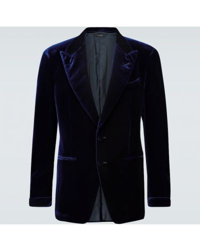 Сиреневый однобортный бархатный пиджак Tom Ford