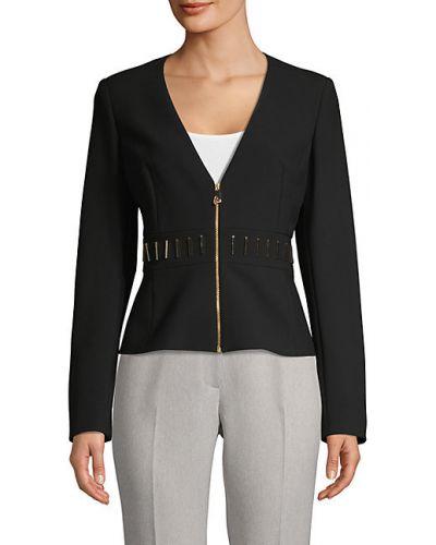 Ватная черная длинная куртка для полных Versace Collection