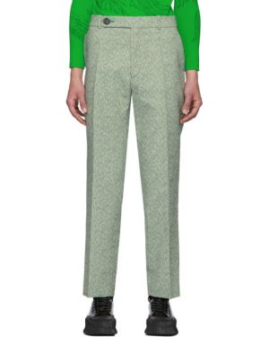Шерстяные белые брючные брюки с поясом Namacheko