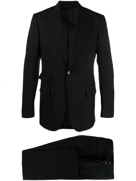 Jednorzędowy wełniany czarny garnitur Tom Ford