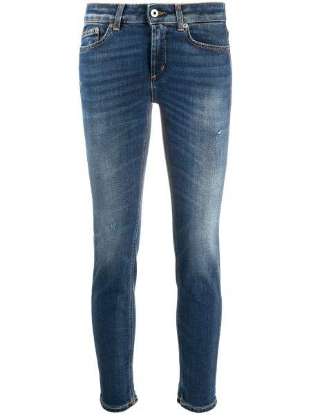 Хлопковые синие укороченные джинсы стрейч с заплатками Dondup